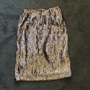 J. CREW Rosegold Sequin Pencil Skirt